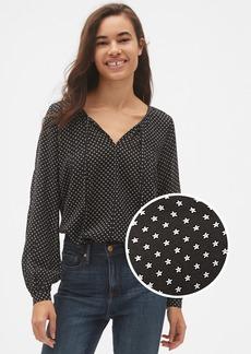 Gap Long Sleeve Print Split-Neck Blouse