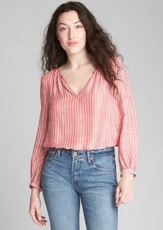 Gap Long Sleeve Stripe Split-Neck Blouse