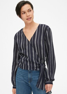 Gap Long Sleeve Stripe Wrap Top