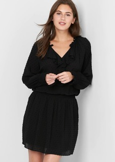 Long sleeve Swiss dot ruffle dress