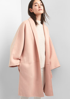 Marled collarless coat