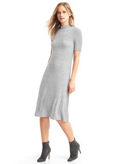 Marled short sleeve mockneck dress