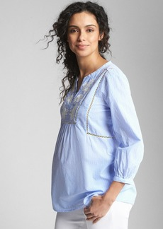 Gap Maternity Embroidered Split-Neck Blouse