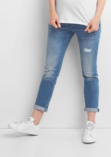 Gap Maternity full panel distressed best girlfriend jeans
