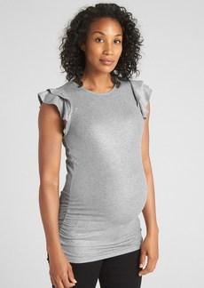 9074623e17d190 Gap Maternity Metallic Ribbed Ruffle Sleeve Top