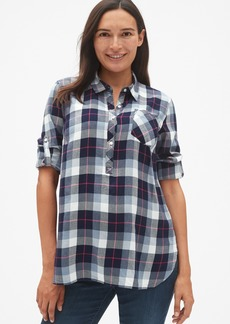 Gap Maternity Roll-Sleeve Flannel Popover Shirt