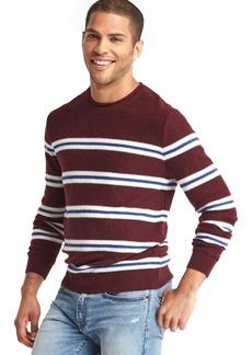 Gap Merino-blend dual-stripe crew sweater