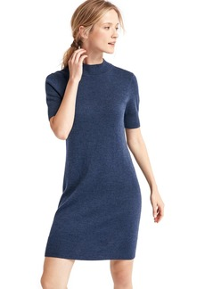 Merino wool mockneck sheath dress