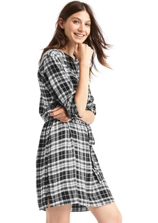 Metallic plaid band collar shirtdress
