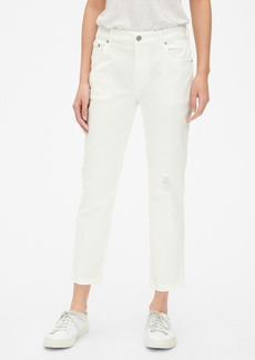 Gap Mid Rise Girlfriend Jeans with Distressed Detail