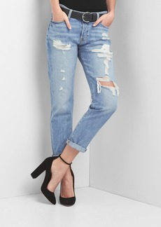 Gap Mid rise destructed relaxed boyfriend jeans