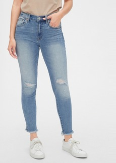 Gap Mid Rise Distressed True Skinny Ankle Jeans