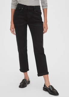 Gap Mid Rise Girlfriend Jeans with Raw Hem