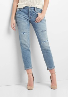 Gap Mid rise relaxed boyfriend patch jeans