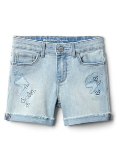 Gap Midi Shorts with Embroidery in Destructed