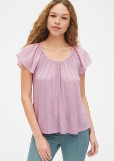 Gap Mix-Fabric Flutter Sleeve Top