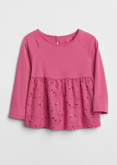 Gap Mix-Fabric Peplum Top
