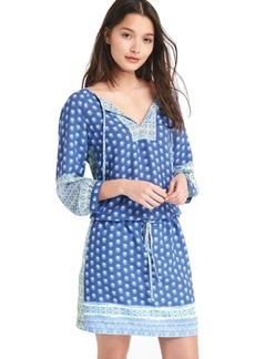 Mix print long sleeve popover dress