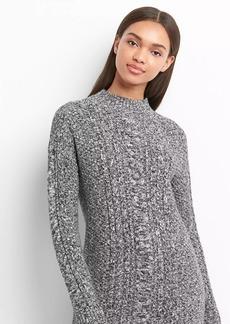 Mockneck cable-knit sweater dress