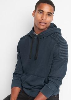 Gap Moto fleece pullover hoodie