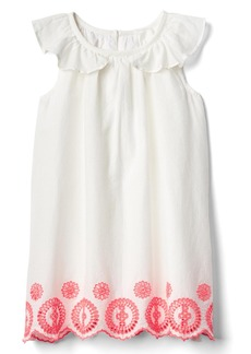 Gap Neon eyelet ruffle dress