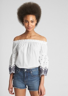 Gap Off-Shoulder Eyelet Bell-Sleeve Top