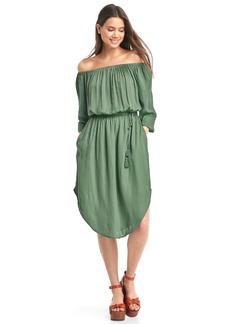Off-shoulder tassel dress