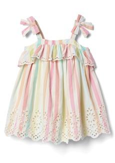 Gap Pastel stripe eyelet bow dress