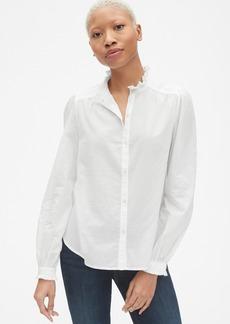 Gap Pintuck Ruffle-Trim Blouson Sleeve Shirt