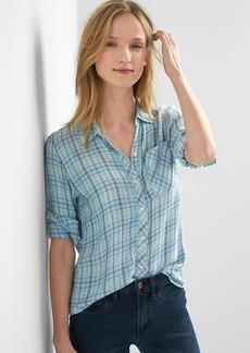 Gap Plaid drapey shirt