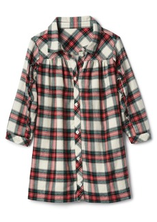 Gap Plaid flannel ruffle shirtdress