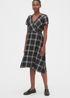 Gap Plaid Midi Wrap Dress