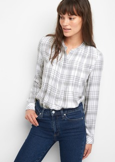 Gap Plaid pintuck long sleeve shirt