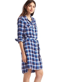 Plaid tie belt shirtdress
