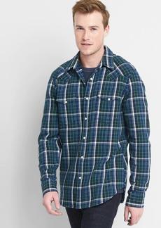 Gap Slim Fit Plaid Western Shirt