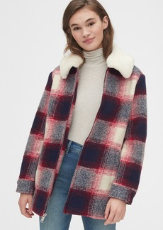 Gap Plaid Wool-Blend Coat with Detachable Sherpa Collar
