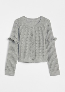 Gap Pointelle Ruffle Cardigan Sweater