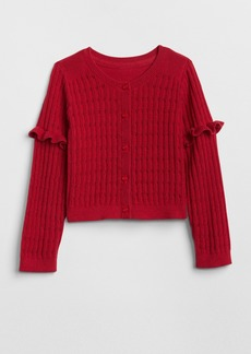 Gap Pointelle Ruffle Cardigan Sweater