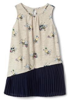 Gap Print asymmetrical pleat dress