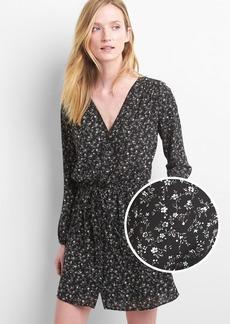 Print button-front dress