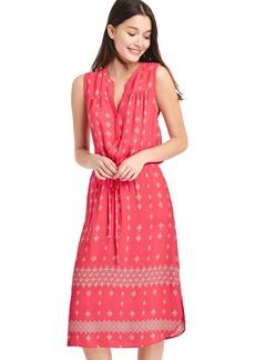 Print fit and flare midi dress