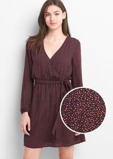 Gap Print long sleeve wrap dress