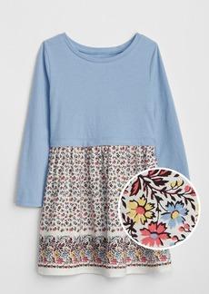 Gap Print Mix-Fabric Dress