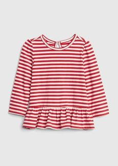 Gap Print Peplum Long Sleeve T-Shirt