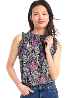 Print ruffle blouse