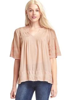 Print split-neck blouse
