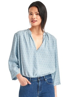 Print split-neck blouse