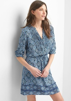 Print split-neck shirtdress