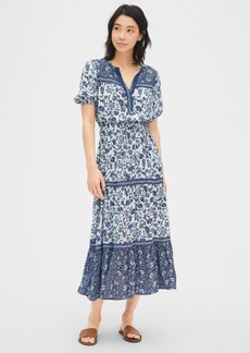 Gap Print Split-Neck Tiered Maxi Dress