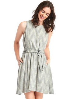 Gap Print tie-belt fit and flare dress